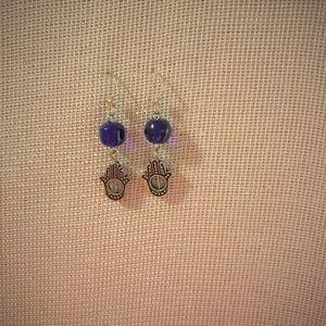 hasma hand evil eye earrings